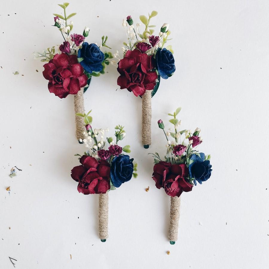 Mariage - Flower boutonnières, floral boutonnières, grooms boutonnières,  burgundy abd navy blue boutonnière, deep blue boutonnière