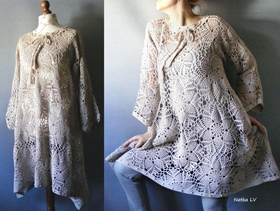 زفاف - Crochet boho dress, oatmeal crocheted tunic, bohemian asymmetric tunic, summer cotton dress, off white tunic, women clothes, plus size tunic