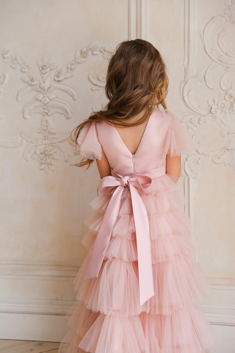 زفاف - Flower girl dress, Blush flower girl dress, flower girl dress tulle, flower girl dress tulle blush, boho flower girl dress
