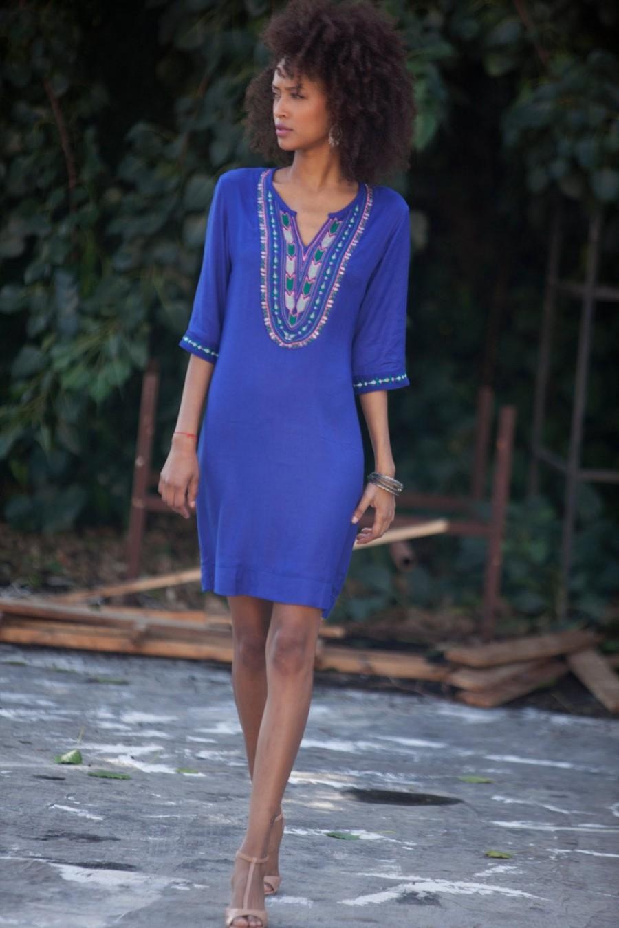 زفاف - Royal Blue Embroidery Caftan Tunic dress, Fall Women Caftan Long sleeves dress, Boho Summer dress, loose Tribal Ethnic Dress