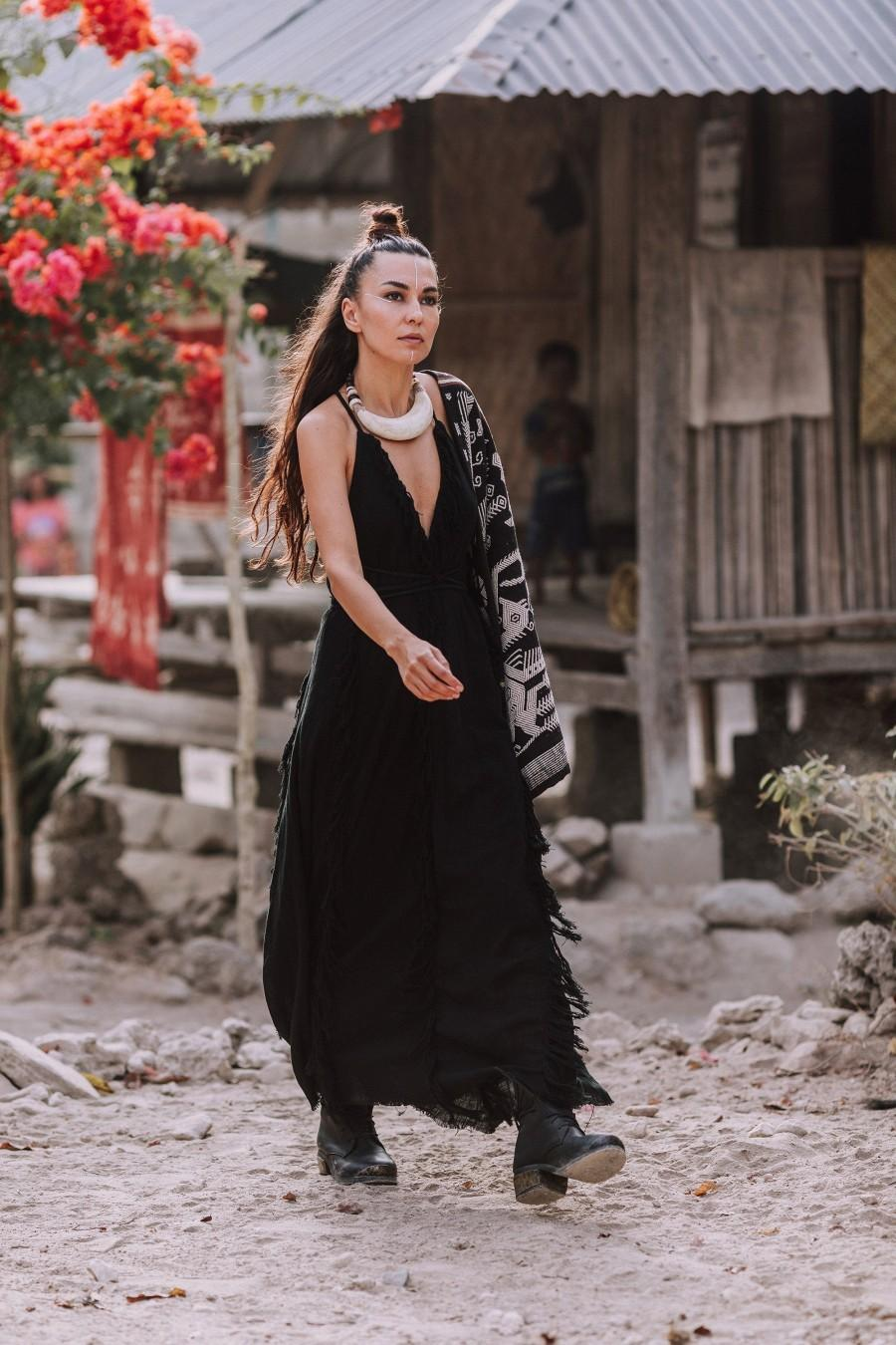 زفاف - Black Cotton Boho Bohemian Dress • Black Simple Wedding Maxi Goddess Dress • Sexy Witch Open Back Dress • Evening Cocktail Bridesmaid Dress