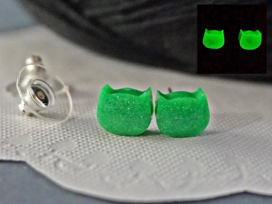 Hochzeit - Cat Stud Earrings Glow In The Dark, Green Studs Minimalist Earrings, Post Earrings Glowing Kitty Cat Kitty Ears Hypoallergenic Tiny Studs