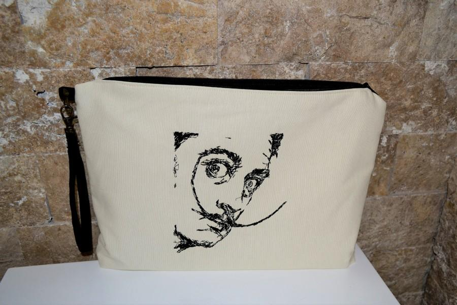 Wedding - Linen Clutch Bag,Free Shipping,Salvador Dali Embroidery,Summer Bag,Causel Clutch,Wristlet,Book bag,HandStrap Clutch,Personalize Gift,Dali