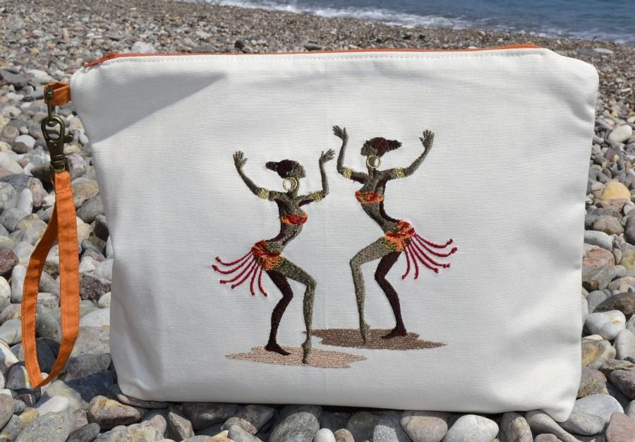 Wedding - Linen Clutch Bag,Free Shipping,African Woman Embroidery,Summer Bag,Causel Clutch,Wristlet,Cosmetic Bag,HandStrap Clutch,Personalize Gift