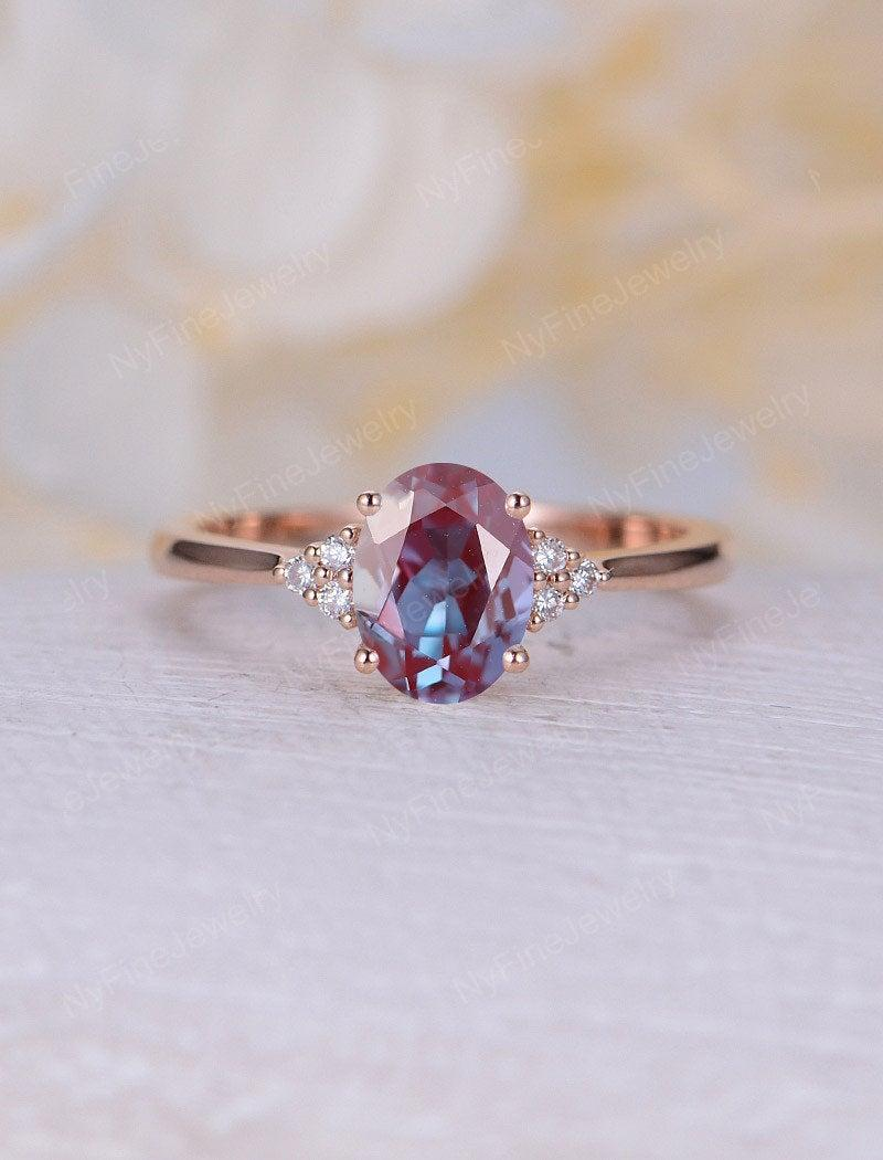 Свадьба - Vintage Alexandrite engagement ring rose gold oval engagement ring moissanite cluster ring wedding Bridal Jewelry Anniversary gift for women