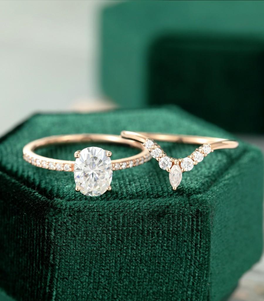 زفاف - Unique Rose gold engagement ring for women Oval Moissanite engagement ring set vintage Half eternity Diamond wedding Bridal Anniversary gift