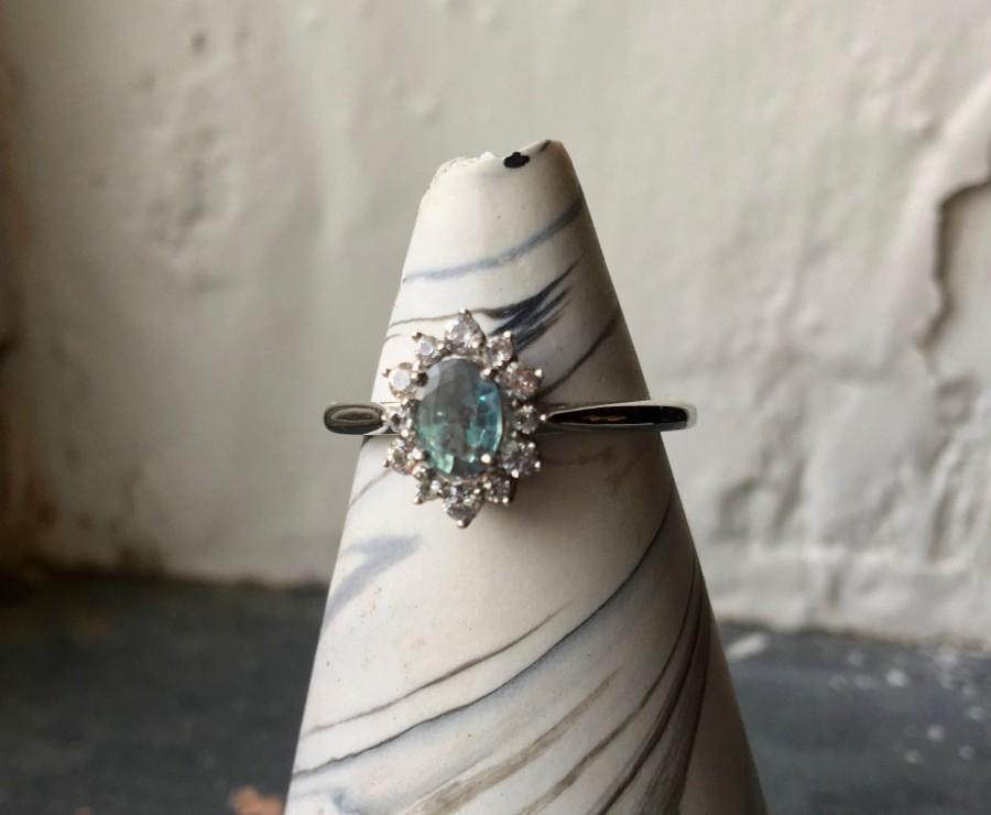 Свадьба - Alexandrite ring natural genuine 14k white gold Kate Middleton style white sapphire halo engagement ring