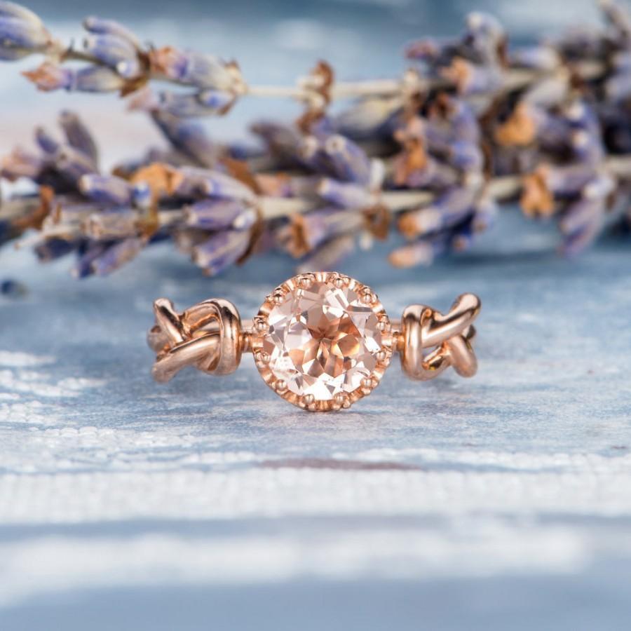 Свадьба - Morganite Ring Rose Gold Love Knot Engagement Ring Solitaire Wedding Bridal Ring Antique Promise Gemstone Women Memorial Beaded Anniversary