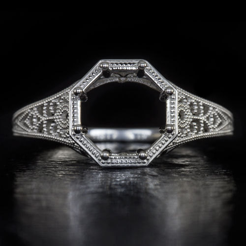 Свадьба - Vintage Inspired 2 Carat Art Deco Setting 14K White Gold Semi Mount Milgrain 8mm Round Detail Handmade 3968