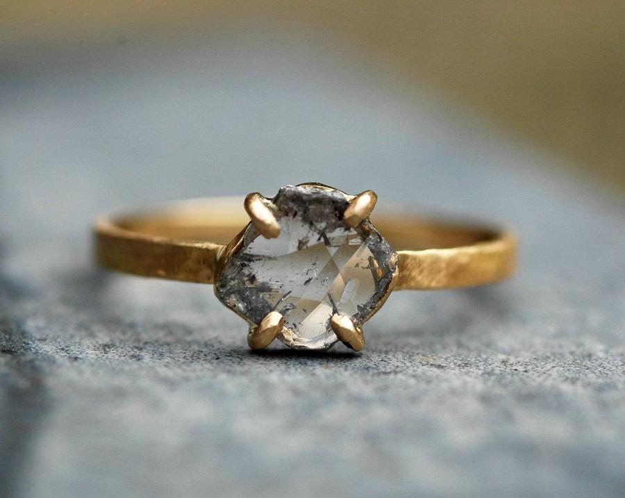 Свадьба - Large Diamond Slice in Recycled 18k and 14k Yellow Gold Ring- Built to Order Engagement Ring