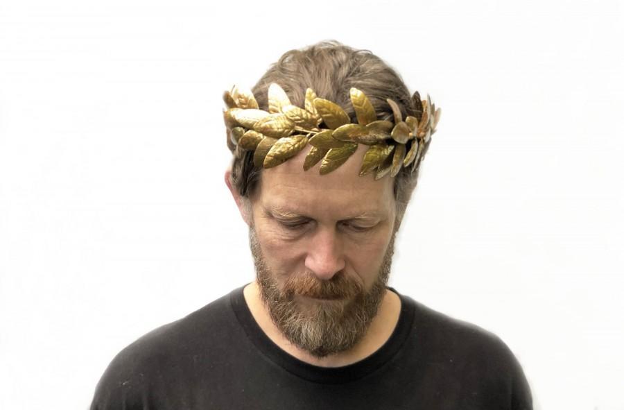 Mariage - Men's Large Gold Leaf Headband, Gold Leaf Crown, Bacchus Laurel, Apollo Leaf Laurel, Toga Costume, Greek God, Grecian Headpiece, Roman Crown