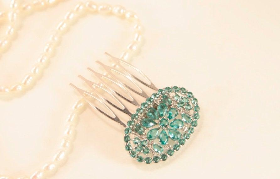 Mariage - Aquamarine Hair Comb Little Wedding Hair Comb Silver Blue Headpiece Veil Hair Clip Flower Crystal Comb Bridal Something Blue Valentine Gift