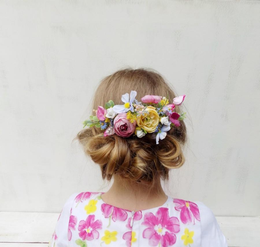 Wedding - Bridal flower hair comb white yellow pink blue boho hair accessories rustic wedding gift for women wildflower woodland bridal headpiece