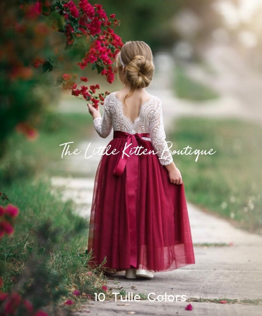 زفاف - Tulle flower girl dress, Lace flower girl dress, long sleeve flower girl dress, rustic flower girl dress, Ivory Boho Flower Girl Dresses