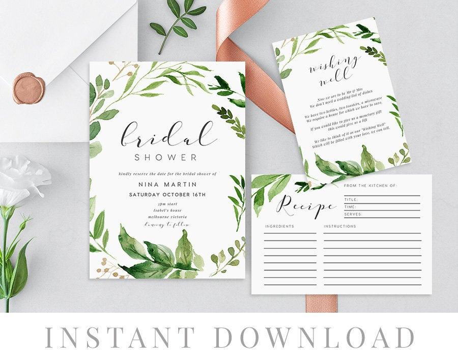 Wedding - Leaves Bridal Shower Invitation INSTANT DOWNLOAD, Hens Night Invite, Recipe Card, Details Card, Templett, Bridal Brunch, Woodland