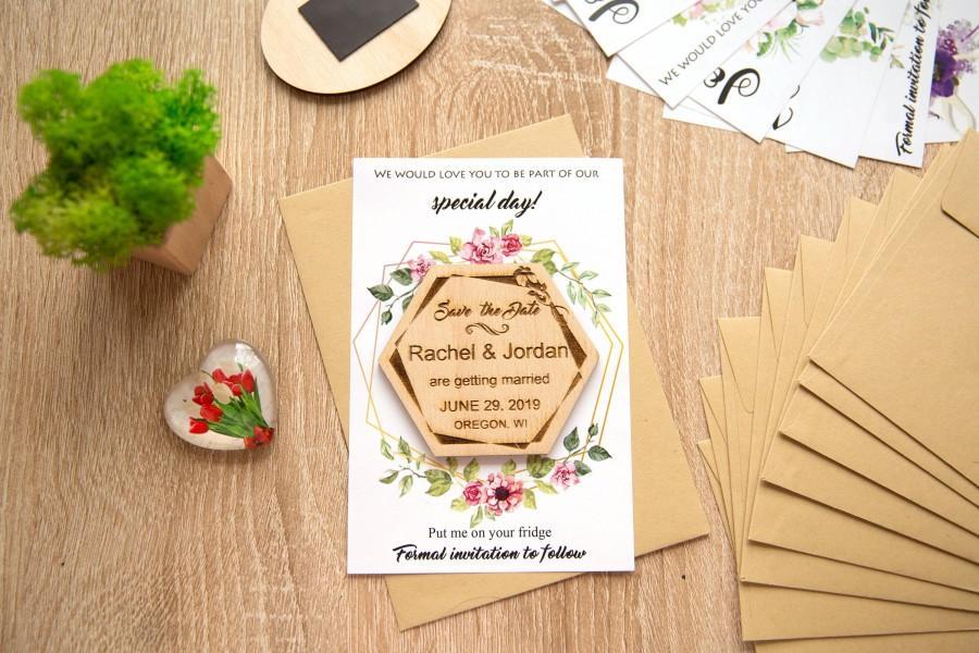 زفاف - Hexagon Save The Date magnet, Save the date, Wedding Invitation, Wooden Save The Date Magnet with Cards, Save The Date Magnets Wedding Cards