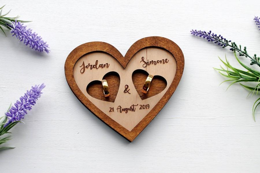 Свадьба - Wedding ring dish heart heart holder Wedding ring plate Wedding ring bearer ring holder Wedding ring box Personalized wedding ring holder