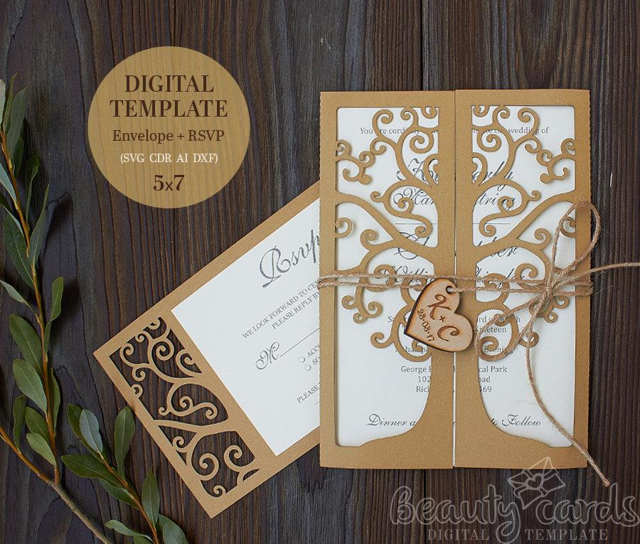 Tree Wedding Invitation Template Svg Rsvp Card Laser Cut