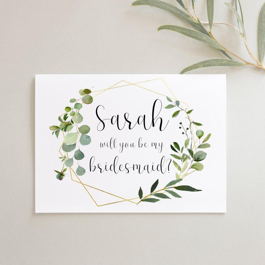 Mariage - Botanical Will you be my Bridesmaid Card, Personalised Proposal Cards for Bridesmaids, Maid of Honour