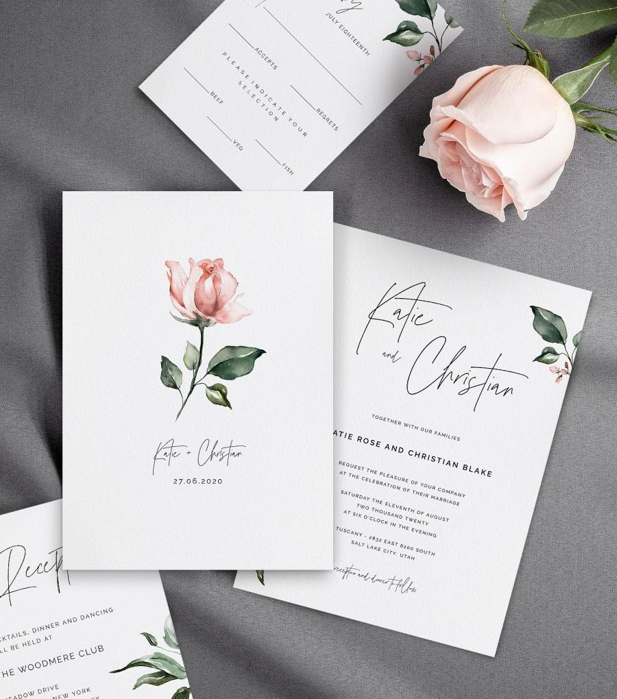 Hochzeit - Wedding Invitations with Watercolor Pink Rose & Greenery, Details Card, Reception Card, RSVP Card, Self-Editable Templates, AB11_01_000