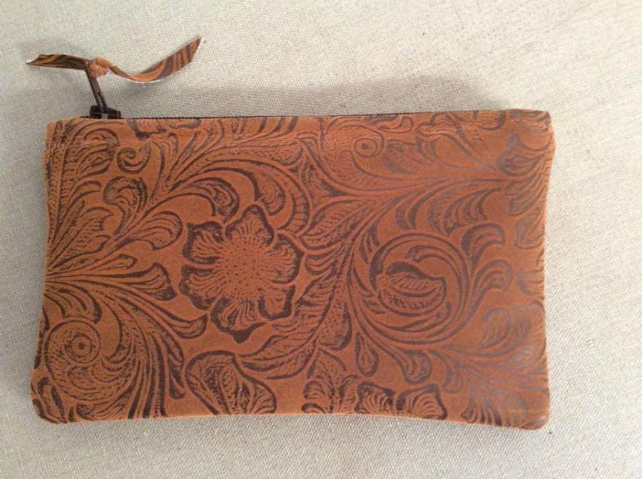 "Hochzeit - Embossed Design on Faux Brown Leather (Cotton) Coin Bag 6.25"" x 4"" Zippered"