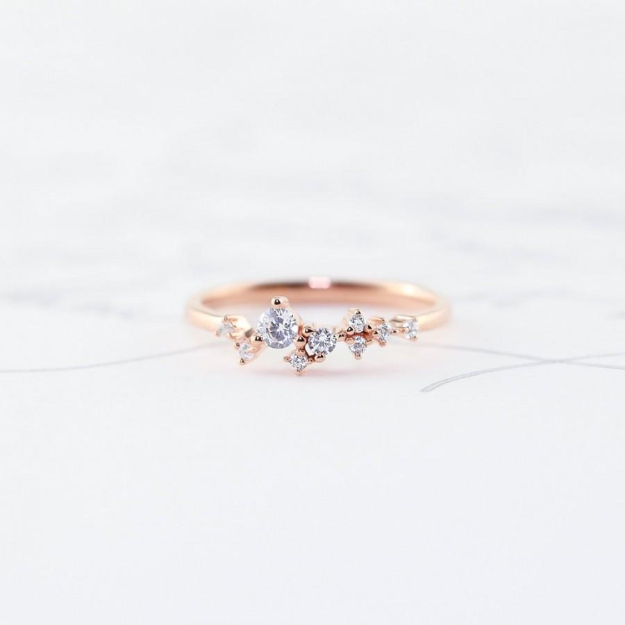 Mariage - Dainty Scattered Ring, Sterling Silver, Rose Gold, 14K Vermeil, Unique, Stacking Ring, Bridal Bridesmaids Gift For Her Wedding Promise TROVE