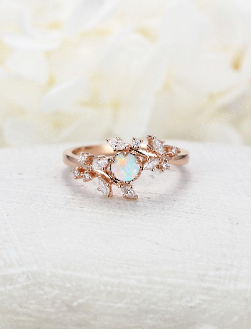 Свадьба - Opal engagement ring Rose gold engagement ring Diamond Cluster ring Unique Delicate leaf wedding women Bridal set Promise Anniversary Gift
