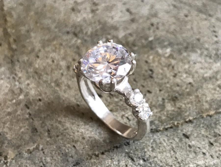 زفاف - Engagement Ring, 4 carat Diamond, Created Diamond, Bridal Diamond Ring, Promise Ring, CZ Diamonds, Sparkly Ring, Solid Silver Ring, Diamonds