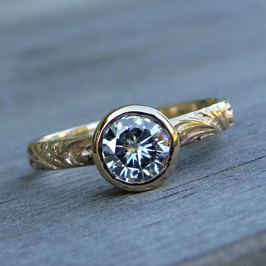 Mariage - Moissanite Ring in Recycled 14k Yellow Gold - Wedding / Engagement Ring - Forever One GHI - Scroll Patterned Band - Diamond Alternative