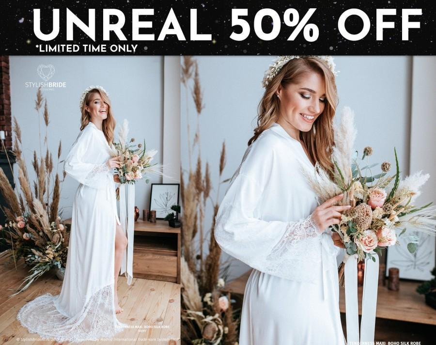 Hochzeit - Floor Lux Bridal Silk Robe with Lace Train, TENDERNESS MAXI Silk Bridal Robe, bridal robe, maxi silk robe, Personalized custom bride robe