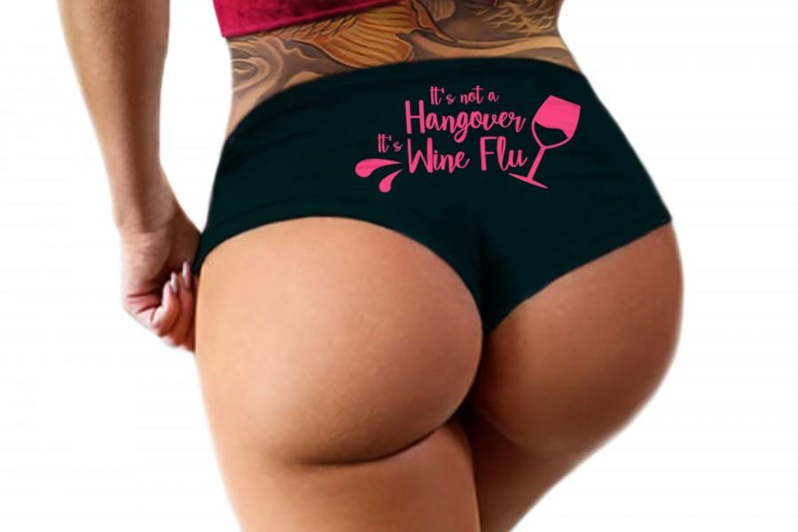 Hochzeit - Its Not A Hangover Its Wine Flu Panties Sexy Funny Booty Panty Bachelorette Party Bridal Gift Womens Underwear