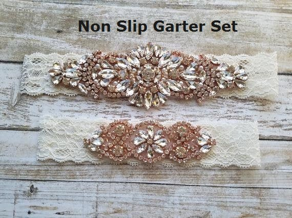Mariage - Sale -Wedding Garter and Toss Garter-Crystal Rhinestones with Rose Gold Details - IVORY Wedding Garter Set - Style G90770