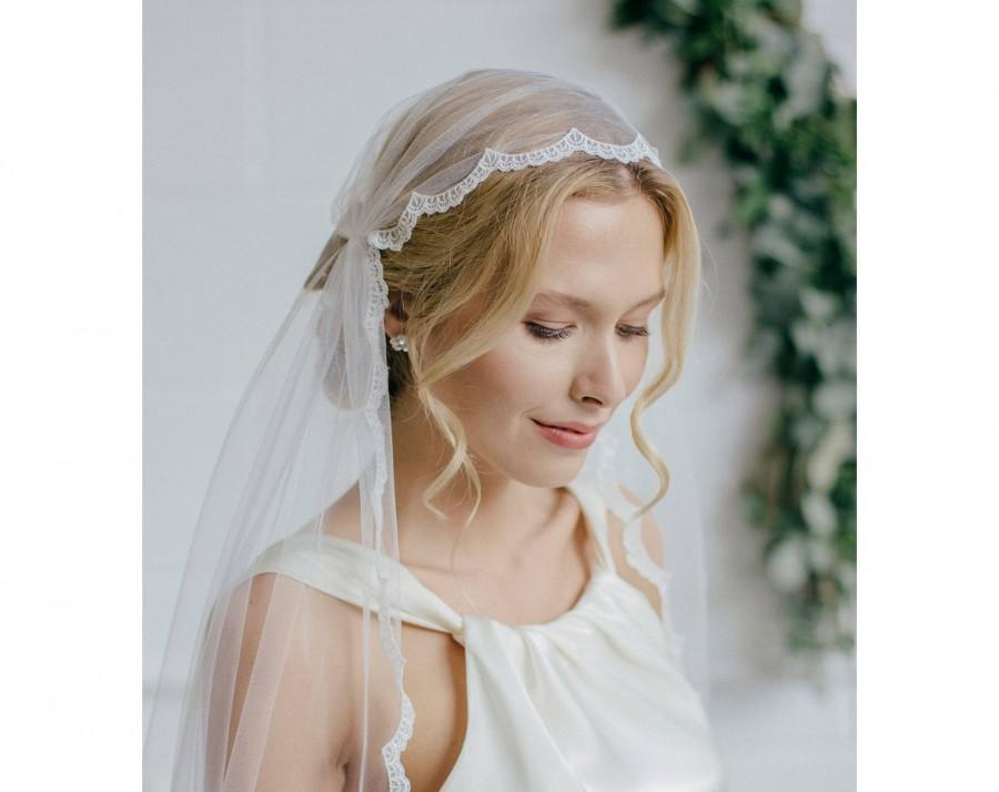 Свадьба - Juliet cap wedding veil with lace edge • Lace Juliet Cap Wedding Veil • Deco Wedding Veil Juliet Cap