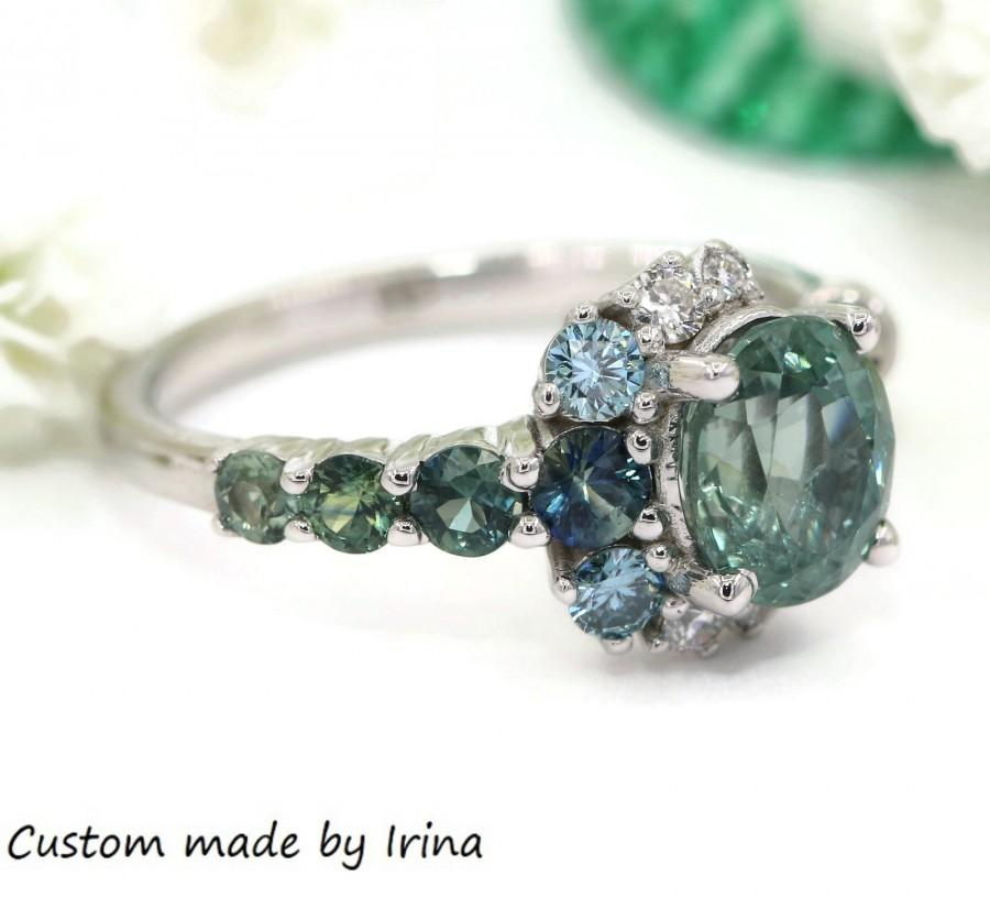 Hochzeit - Unheated Montana Sapphire Ring, Teal Sapphire Engagement Ring, Vintage Inspired One of a kind Cluster Ring, Crescent Unique Engagement Ring