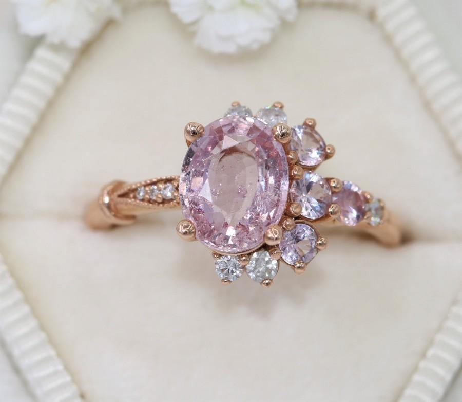 Mariage - Pink Sapphire Cluster Engagement Ring Luna Collection, One of a kind Ring, Half-Moon Crescent Ring, Oval Rustic Pink Sapphire Ring