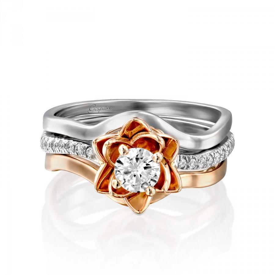 Hochzeit - Flower Engagement Ring, Gold Engagement Set, Wedding Ring, Floral Ring, Two Tone Ring, Flower Diamond Ring, Gispandiamonds, Art Deco Ring