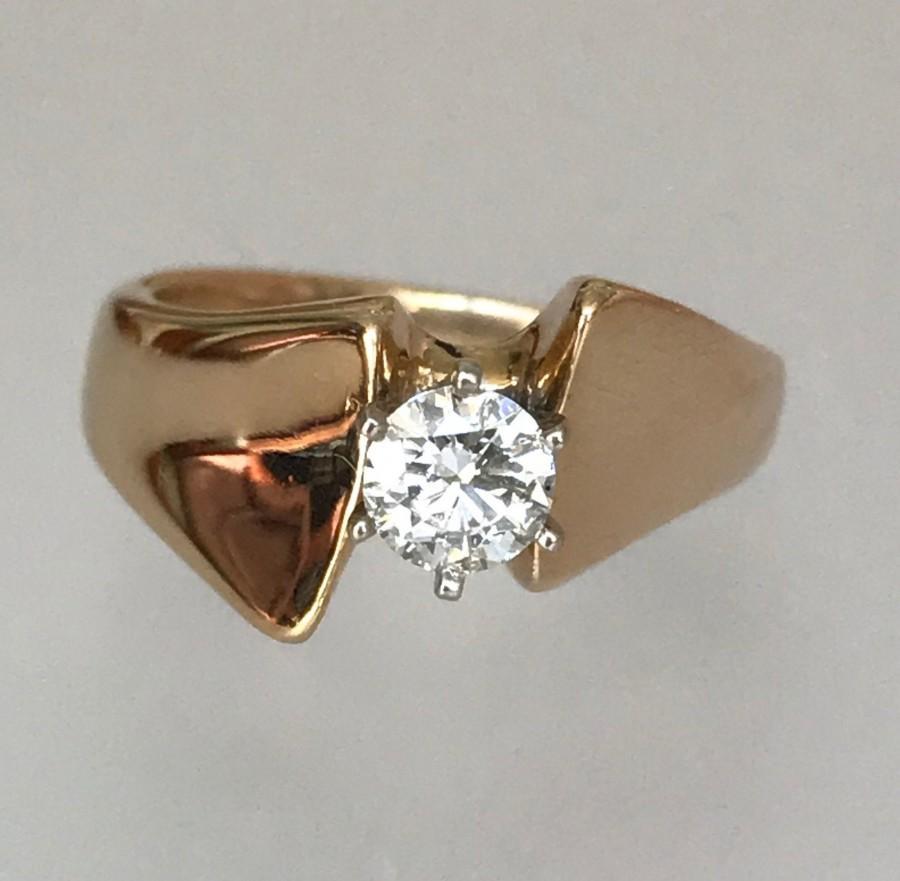 Свадьба - Vintage 14k Yellow Gold and Diamond Engagement Ring w .40Ct HSI1 Round Brilliant Diamond , Size 6.25.