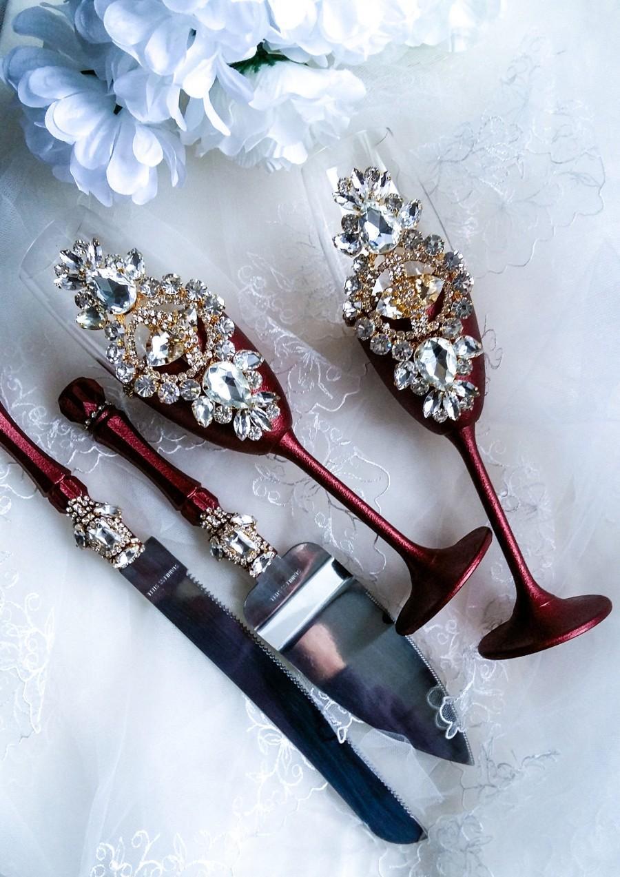 Mariage - burgundy and gold wedding toast flute and cake server set crystal wedding glasses engraved cake cutting set champagne flutes and cake knife