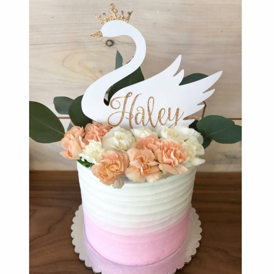 Mariage - Baby Shower Swan Cake Topper