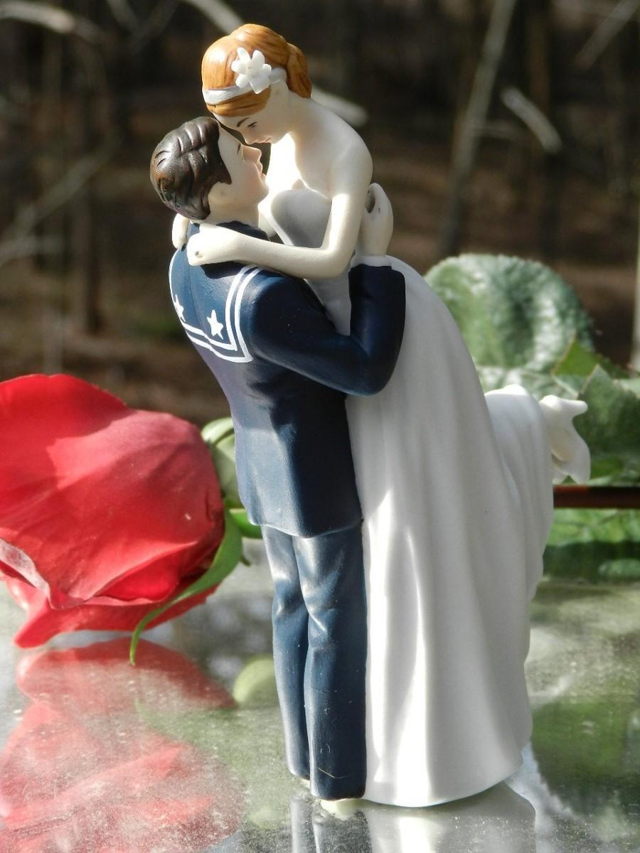 Mariage - military USN Navy Sailor  Wedding Cake Topper  sexy pose Bride uniform Kiss Lift