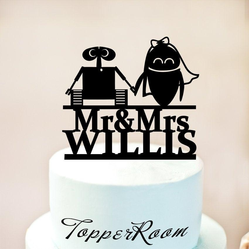 Mariage - Wall-e and Eva Wedding Cake topper,Wall-e and Eva Cake Topper,Wedding Silhouette Cake Topper,Inspired Wedding Cake Topper,Cake Topper (1199)