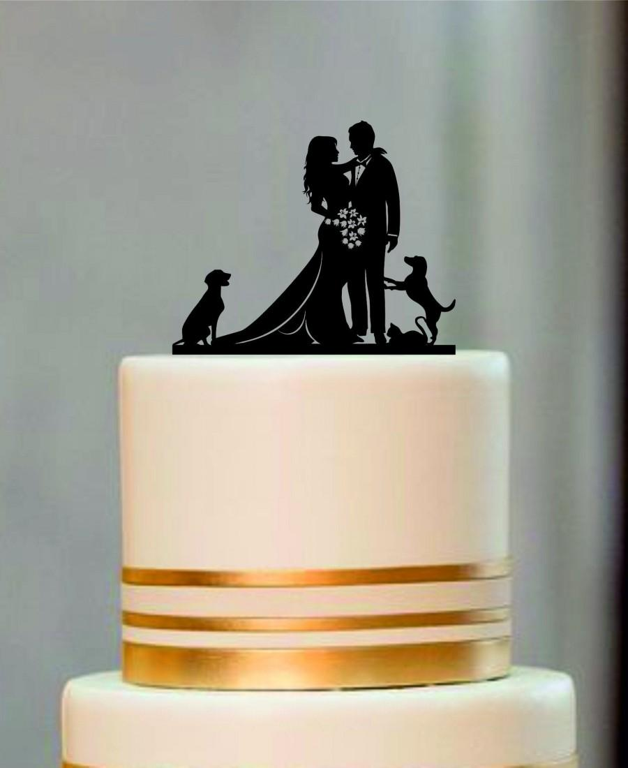 Mariage - Silhouette Wedding Cake Topper, Bride and Groom Cake topper with a dog or cat, Rustic Wedding Silhouette With a dog or cat, Custom Topper