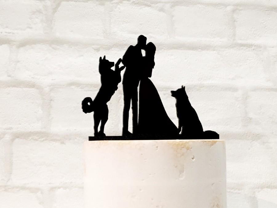 Mariage - Two Husky Dogs Silhouette Wedding Cake Topper, 2 Huskies