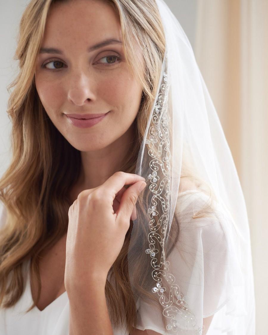 Mariage - Beaded Bridal Veil, Embroidered Wedding Veil, Tulle Veil, Veil with Comb, Bead & Sequin Veil, Ivory Veil, Fingertip Length Veil ~VB-5023