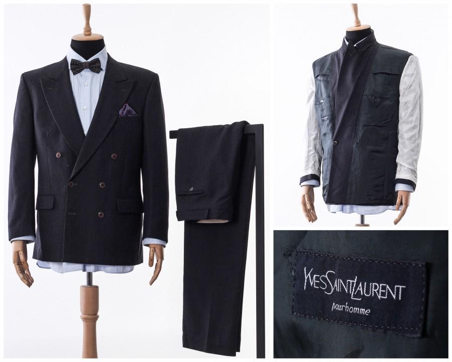 Wedding - Mens YVES SAINT LAURENT Double Breasted Suit Blazer Trousers Size 42 L 52, mens ysl ,vintaeg suit, mens blazer, mens tailored