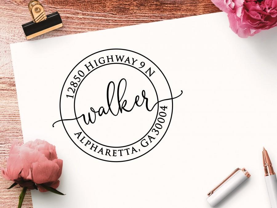 Hochzeit - Address Stamp, Self Inking, Round Design, Personalized Custom Return Address Stamper