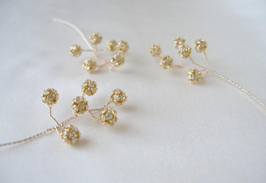زفاف - Gold and crystal hairpins, Bridal crystal hair pins, Wedding hair jewelry, Bridal pins, Wedding pins in gold or silver - includes 5 pieces