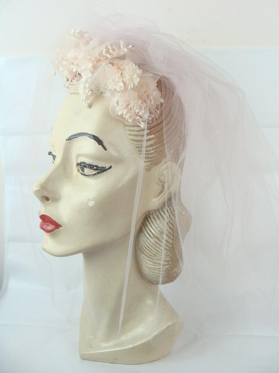 Mariage - Vintage Veil Pink Bridal Headband 60s Flowers Bows Ribbon Mid Century Headband Hat Head Piece Tulle Wedding Fabulous Glam Pretty 1960s Sweet