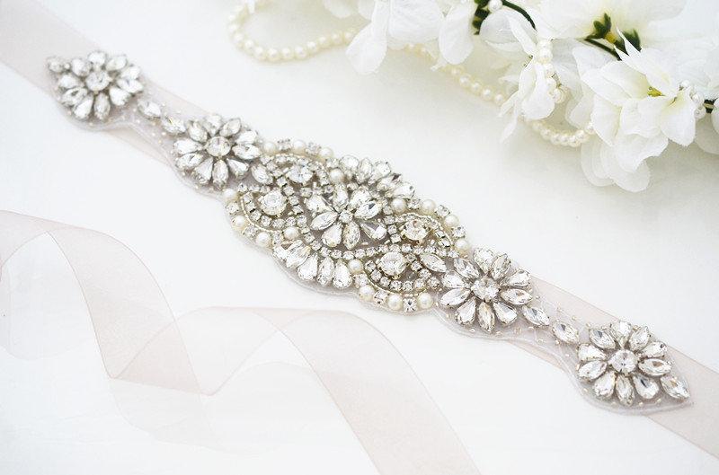 Свадьба - Silver Bridal Belt, Bridal Sash Belt, Skinny Belt, Bridal Belt, Wedding Belt, Bridal Wedding Belt, Sash Belt, Crystal Wedding Belt