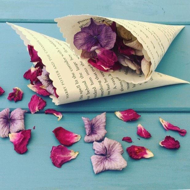 Mariage - CHOOSE BOOK, Book Confetti Cones, Book Page Cones, Petal Cones, Paper Cones, Wedding Cones, Flower Cones, Favour Cones, Confetti Holders